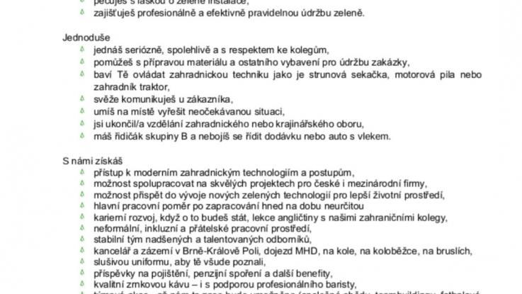 Pracovní nabídka absolventům od společnosti PFM-Greenvia