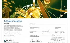 Autodesk Certificate of Completion