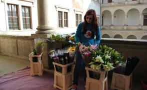 Studenti floristiky zdobí zámek v Litomyšli