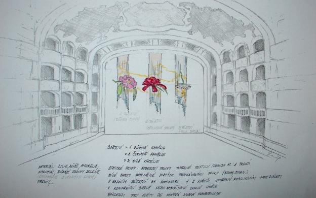 Tematický návrh výzdoby prostoru nad jevištěm pro Ples v opeře