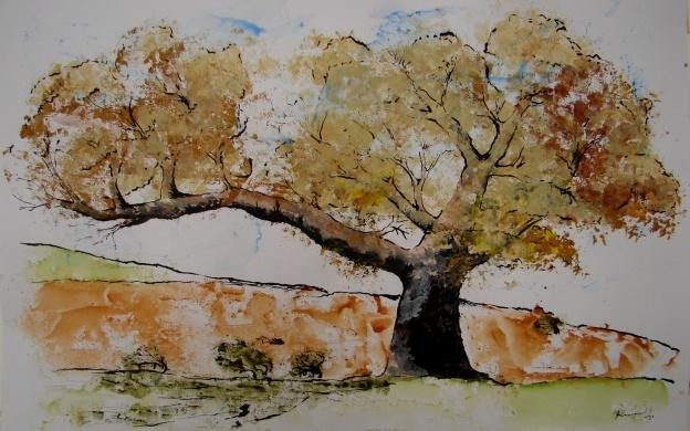 Výtvarná příprava - tisk stromu dle paměti, kresba tuší